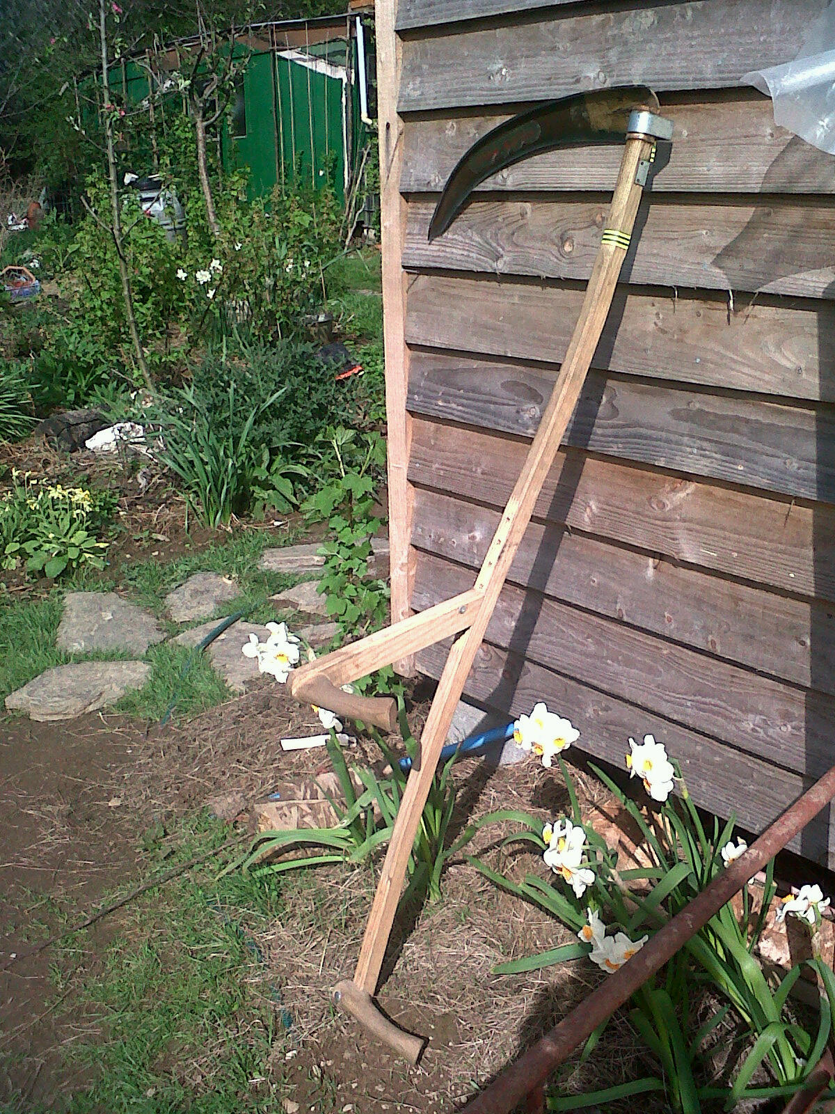 Trimming Scythe - short snath with long handled lower grip to enable the user to mow a narrow swath