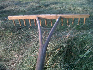 Wooden hayrake made for us by a local coppice worker