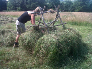 Filling the bottom rail with hay